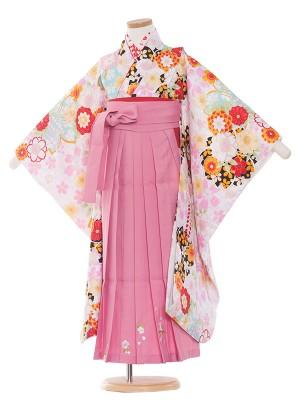 女児袴(7女)9095 白地桜/ピンク袴