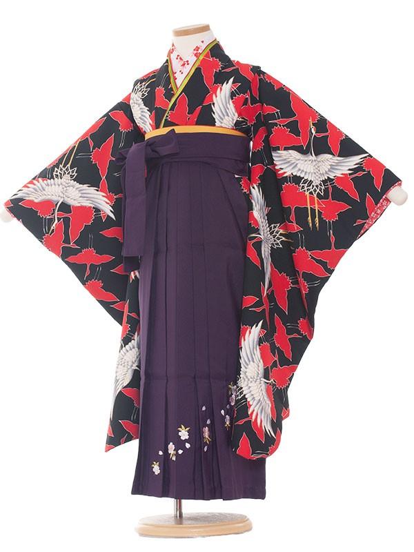七五三(7女) 9016 黒地/鶴の舞 /袴