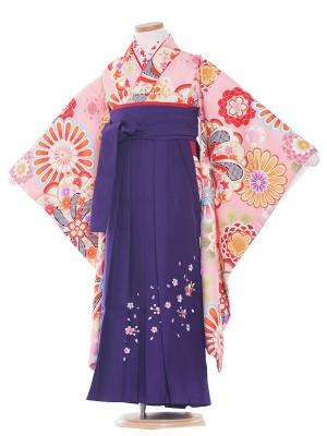 女児袴(7女)9192 ピンク色/花柄古典  /袴