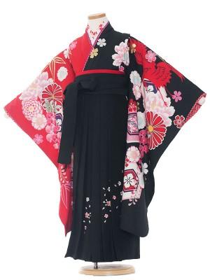 女児袴(7女)9212 黒地/牡丹桜に鶴/袴