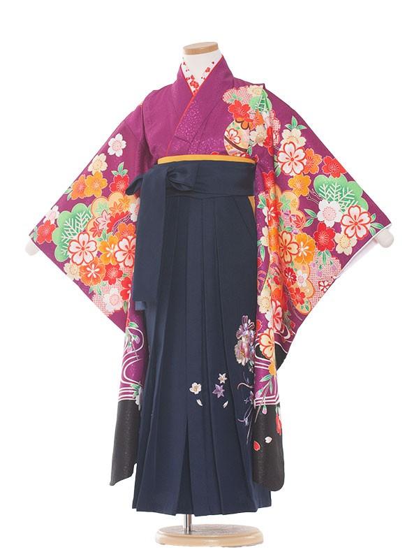 七五三・卒園式袴レンタル(7女)9135 赤紫地×梅花枝垂桜袴65