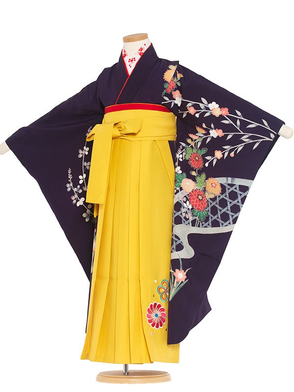 七五三・卒園式袴レンタル(7女)9141 青紫地×菊(正絹)袴65