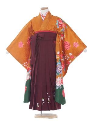 女児袴(7女)9209オレンジ地/牡丹と御所車(正絹)/袴
