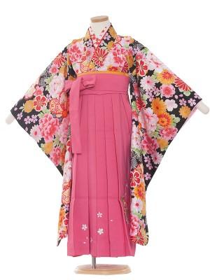 女児袴(7女)9092 黒華/ピンク袴65