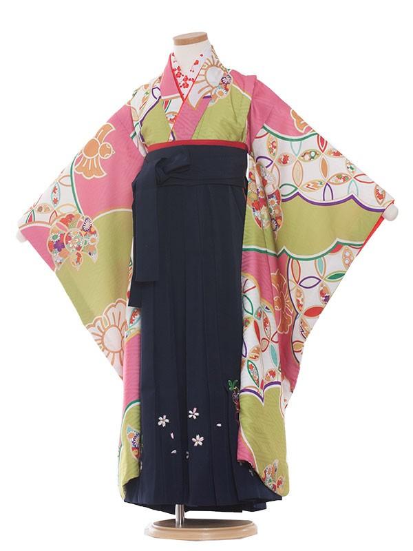 女児袴(7女)9172黄緑・ピンク色/七宝柄 式部浪漫/袴
