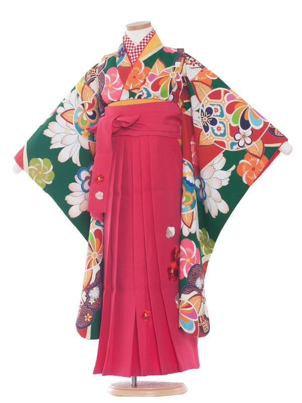 七五三(7女)9144 緑地×レトロ小紋橘袴70