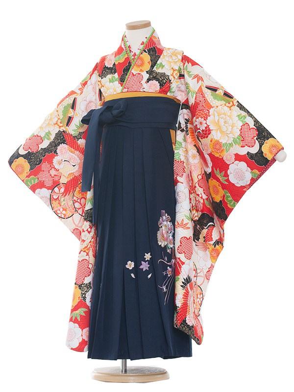 女児袴(7女)9133 赤地×古典鶴袴65