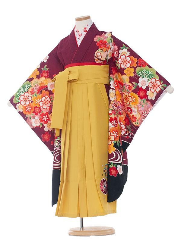 七五三(7女)9140 赤紫地紋×梅花枝垂桜袴65