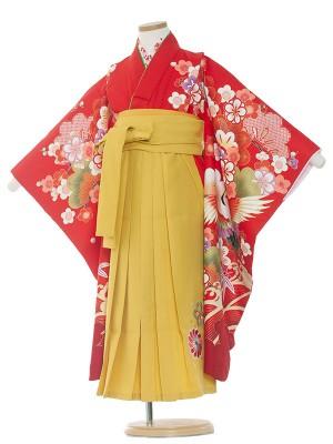 女児袴(7女)9136 赤地×鶴松竹梅袴65