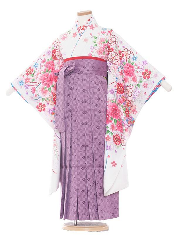 女児袴(7女) 9031 白/桜づくし/袴
