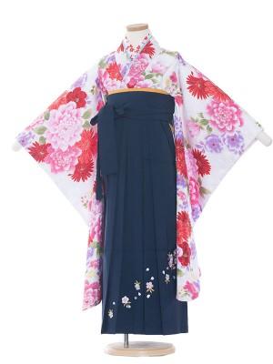 女児袴(7女) 9075 白/華/袴
