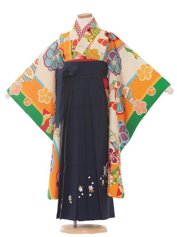 七五三・卒園式袴レンタル(7女)9084 クリーム/緑/袴70
