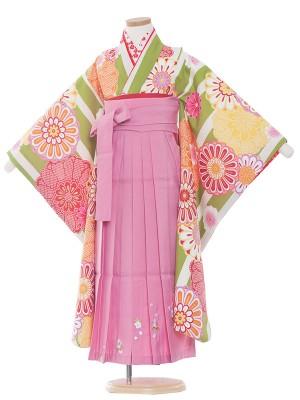 女児袴(7女)9158 花わらべ×緑縞に紋袴65