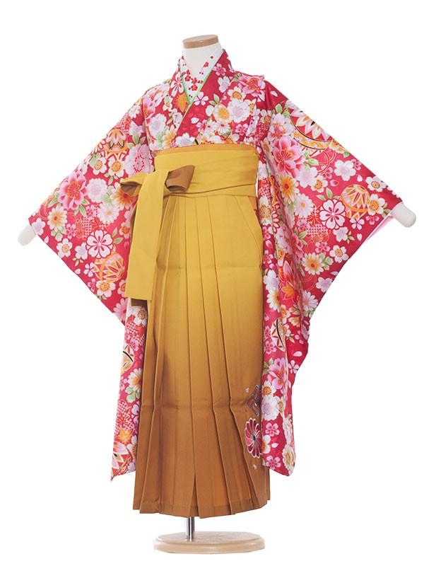 七五三・卒園式袴レンタル(7女)9091 赤華/からし袴65