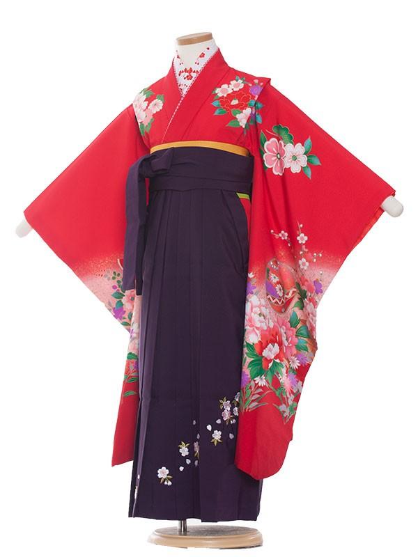 七五三・卒園式袴レンタル(7女) 9048 赤/すずとボタン/袴