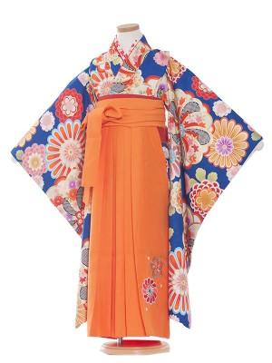 女児袴(7女)9181 青色/花柄古典/袴