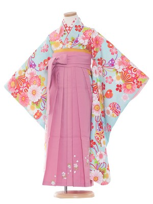 女児袴(7女)9128 水色地×小花袴65
