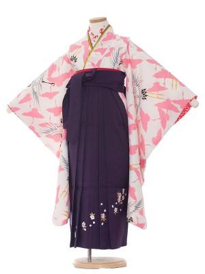 女児袴(7女) 9014 白地/鶴の舞/袴