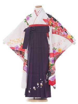 女児袴(7女)9125 白地×花と熨斗目袴65