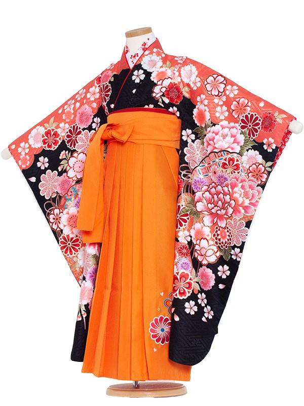 女児袴(7女)9100 黒地×毬と群華袴65