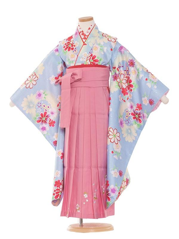 七五三(7女) 9055 水色/花柄/ピンク袴