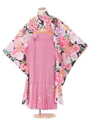 女児袴(7女)9107 黒地×毬と華袴65