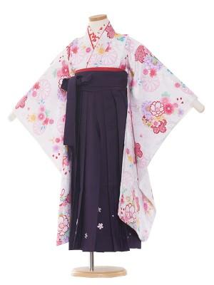 女児袴(7女)9096 白地/紫袴65
