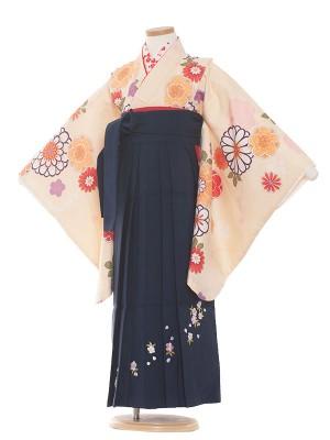 女児袴(7女) 9076 生成り/菊と梅/袴