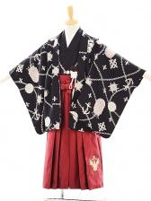 七五三(5歳男袴) F020 スザンヌ 黒×ワインレッド