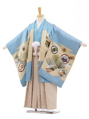 七五三レンタル(5歳男袴)F342 水色地 束ねにし 丸紋