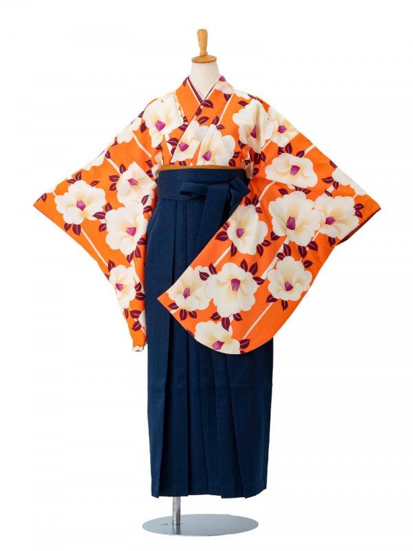 卒業袴0023  橙地に大きな椿と縞 袴紺
