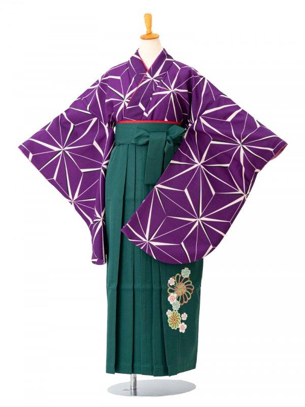 卒業袴0002麻の葉 紫 袴緑刺繍