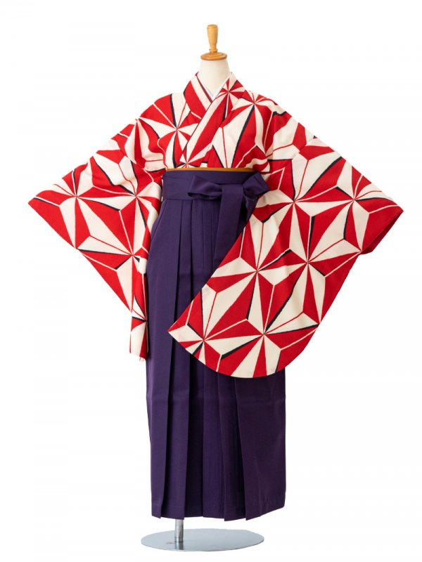 卒業袴0031  白地に赤麻の葉 袴紫