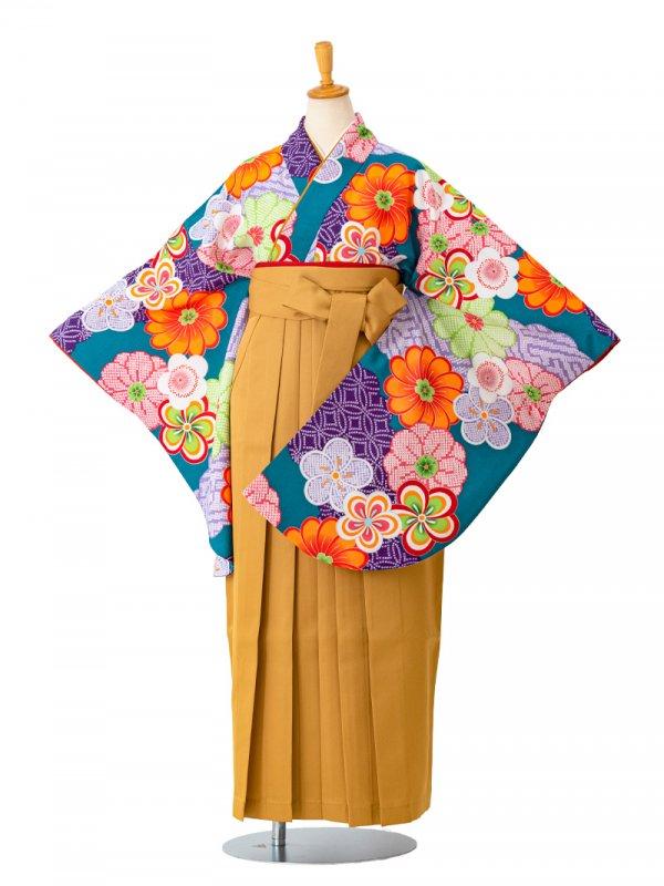 卒業袴0041  緑地にねじり梅とかのこ雲 袴黄色
