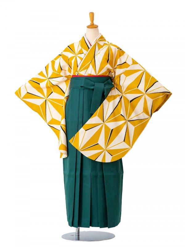 卒業袴0033  白地に黄色麻の葉 袴緑