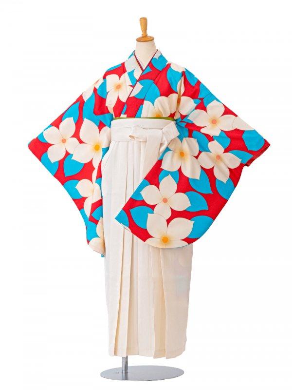 卒業袴0025  赤地に大きな花と葉 袴白