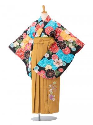 卒業袴0014 黒地に菊と菊の葉 袴黄色刺繍