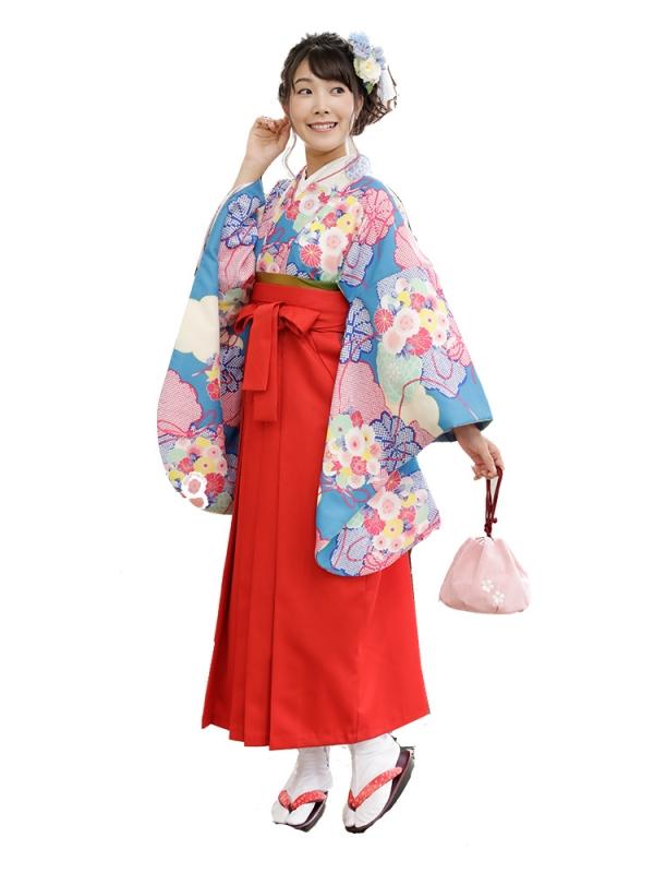 卒業袴0037  水色地に梅ともみじ 袴赤
