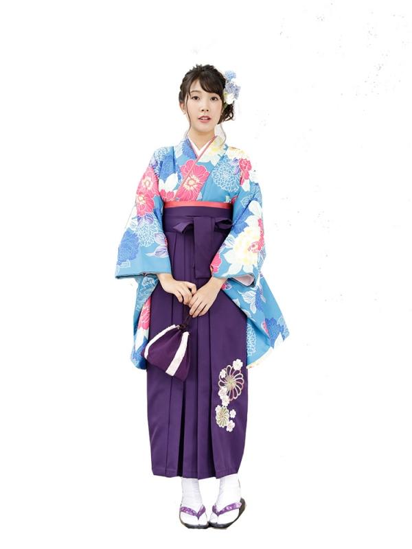 卒業袴0039  水色地に大きな牡丹 袴紫刺繍