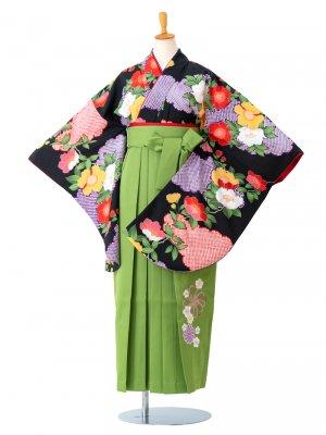 卒業袴0006 黒地に牡丹とかのこ雲 袴黄緑刺繍