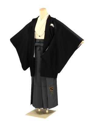 小学 卒業式袴 男子 小町Kids 黒×グレー袴
