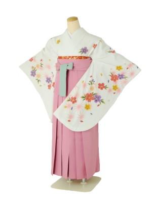 小学生卒業式袴女児c105白麻の葉桜×ピンク