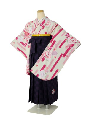 小学生卒業式袴女児c125絣牡丹ピンク白×市松パープル刺繍