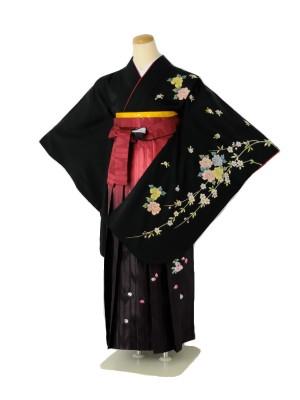 小学生卒業式袴女児c107黒しだれ桜×赤絣ぼかし桜