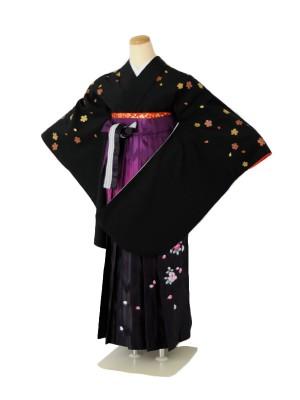小学生卒業式袴女児c142桜小振袖ブラック×パープルぼかし矢絣刺繍