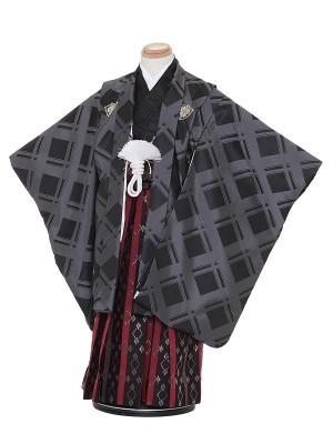 七五三レンタル(5歳男袴)H517 ひさかたろまん 黒 グレーチェック