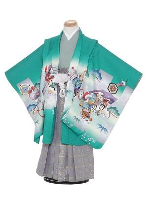 七五三レンタル(5歳男袴)H523 緑地 松に扇子