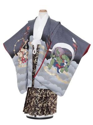 七五三レンタル(5歳男袴)H508 グレー 風神雷神