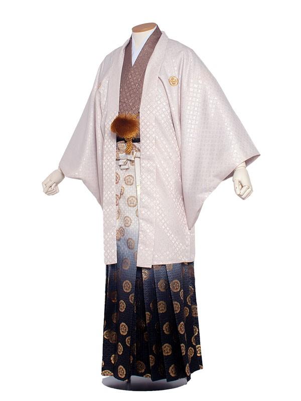 男性用袴 6号薄ピンクラメ入り茶/6X04
