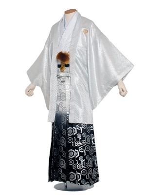 男性用袴 紋服6号 白 花菱模様/6H02